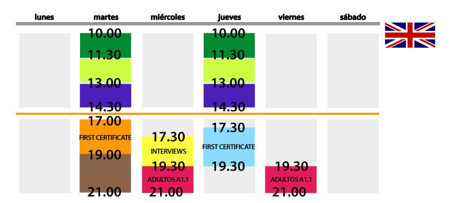 horario ingles SEPTIEMBRE 2013