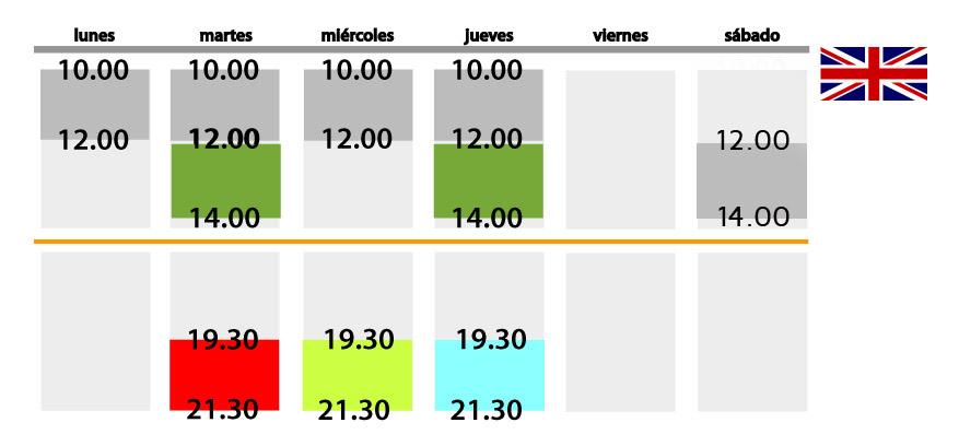 horario ingles nuevo SEPTIEMBRE 2013